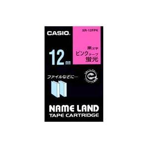 (業務用50セット)カシオCASIO蛍光テープXR-12FPK桃に黒文字12mm×50セット