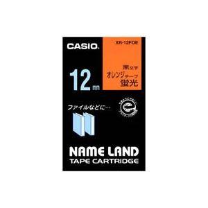 (業務用50セット)カシオCASIO蛍光テープXR-12FOE橙に黒文字12mm×50セット