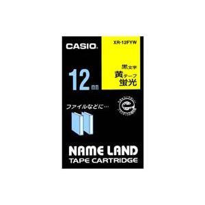 (業務用50セット)カシオCASIO蛍光テープXR-12FYW黄に黒文字12mm×50セット