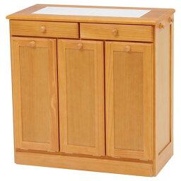 ダストボックス/ゴミ箱 【ナチュラル 15Lペール3個付き】 約幅69cm 木製 キャスター付き 洗える 〔キッチン 台所〕【代引不可】