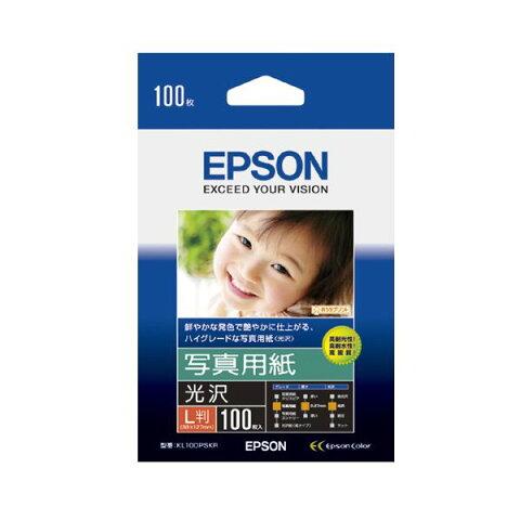 (まとめ) エプソン EPSON 写真用紙<光沢> L判 KL100PSKR 1箱(100枚) 【×10セット】