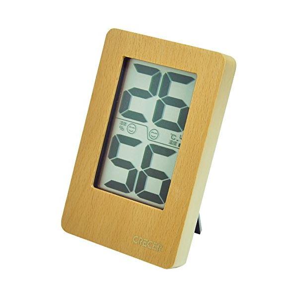 クレセル 天然木 デジタル 温湿度計 壁掛け・卓上用 ナチュラル CR-2200W