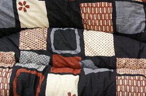 国内プリントこたつ厚掛け布団単品『あかね』ブラック205×245cm(裏地:フランネル)