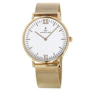 キャプテン&サンKAPTEN&SON36mmホワイト/ゴールドステンレスメッシュレディース腕時計時計GD-KS36WGM【_包装】