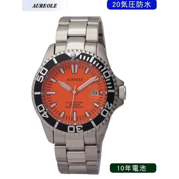 【AUREOLE】オレオール メンズ腕時計 SW-416M-A3 アナログ表示 10年電池 20気圧防水 /5点入り(代引き不可)【S1】:リコメン堂生活館