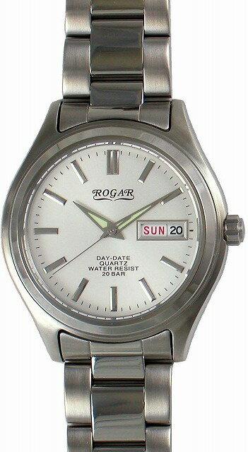 【ROGAR】ローガル メンズ腕時計 RO-026M-WH 20気圧防水(日本製) /5点入り(代引き不可)【S1】:リコメン堂生活館
