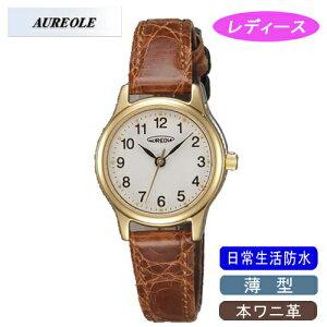 【AUREOLE】オレオールレディース腕時計SW-467L-2アナログ表示薄型本ワニ革日常生活用防水/1点入り(き)【RCP】