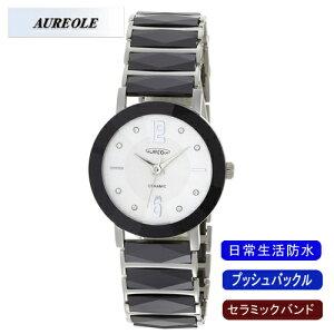 【AUREOLE】オレオールメンズ腕時計SW-486M-3アナログ表示セラミックバンド日常生活用防水/10点入り(き)【RCP】