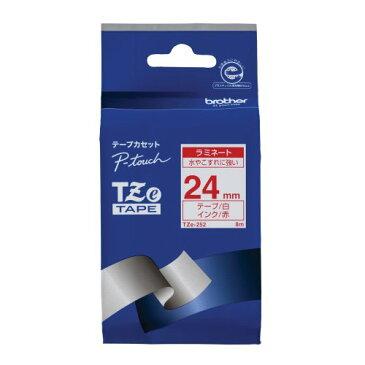 ブラザー工業 TZeテープ ラミネートテープ(白地/赤字) 24mm TZe-252