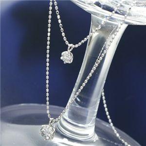 プラチナダイヤモンド2連ネックレス 計0.5ct【S1】:VANCL