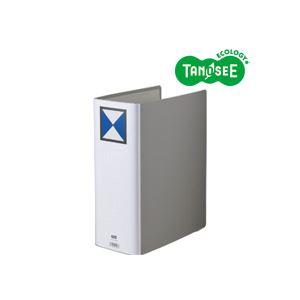 (まとめ)TANOSEE両開きパイプ式ファイルA4タテ100mmとじグレー10冊