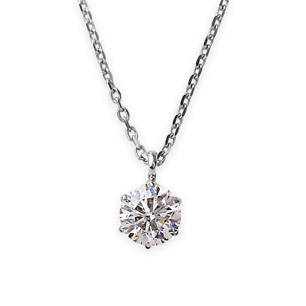 【鑑定書付】 ダイヤモンド ネックレス 一粒 K18 ホワイトゴールド 0.5ct ダイヤネックレス 6本爪 Kカラー I1クラス Poor 中央宝石研究所ソーティング済み【S1】:VANCL