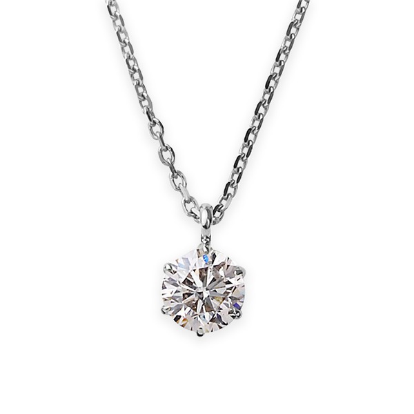 【鑑定書付】 ダイヤモンド ネックレス 一粒 K18 ホワイトゴールド 0.3ct ダイヤネックレス 6本爪 Kカラー I1クラス Poor 中央宝石研究所ソーティング済み【S1】:VANCL