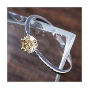 K18WG(ホワイトゴールド)0.25ctライトブラウンダイヤモンドリング(指輪)1838287号