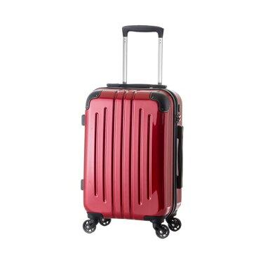 軽量スーツケース/キャリーバッグ 【レッド】 61L 3.8kg ファスナー 大型キャスター TSAロック
