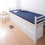 ベッド シングル フレーム 高さ 調節 高さが選べるパイプミドルベッド 3段階 【CLEV】クレブ 宮棚なし シングルサイズ(代引不可)【送料無料】