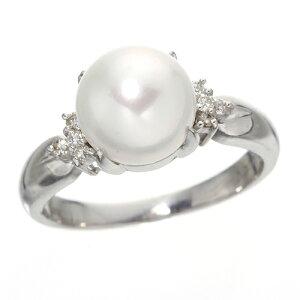 あこや真珠8mmアップパールダイヤリング#13【S1】