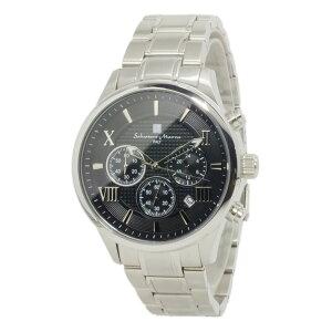 サルバトーレマーラクオーツメンズクロノ腕時計時計SM15102-SSBKSVブラック【_包装】