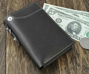Igginbottom イギンボトム ボンデッドレザーのベラ付き縦型二つ折りメンズ財布(小銭入れあり ) 折財布 IG-704【送料無料】