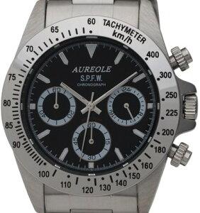 【AUREOLE】オレオールメンズ腕時計SW-581M-1クロノグラフ24時間表示付10気圧防水/5点入り(き)