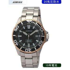 【AUREOLE】オレオールメンズ腕時計SW-416M-A2アナログ表示10年電池20気圧防水/5点入り(き)