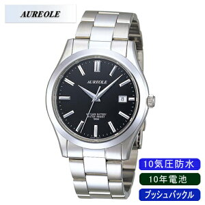【AUREOLE】オレオールメンズ腕時計SW-409M-1アナログ表示日常生活用防水10年電池10気圧防水/5点入り(き)