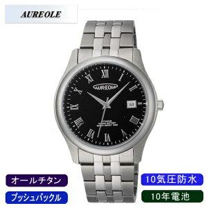 【AUREOLE】オレオールメンズ腕時計SW-483M-4アナログ表示10年電池オールチタン10気圧防水/5点入り(き)