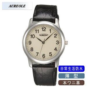 【AUREOLE】オレオールメンズ腕時計SW-467M-4アナログ表示薄型本ワニ革日常生活用防水/1点入り(き)