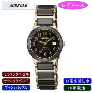 【AUREOLE】オレオールレディース腕時計SW-481L-1アナログ表示セラミック10年電池日常生活用防水/1点入り(き)