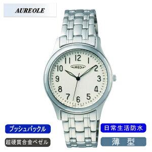 【AUREOLE】オレオールメンズ腕時計SW-491M-3アナログ表示薄型超硬質合金ベゼル日常生活用防水/5点入り(き)