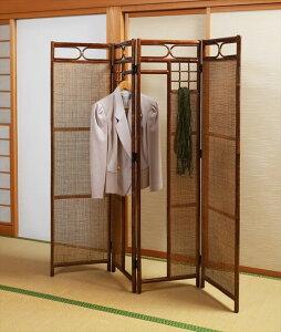 籐多目4連スクリーンスクリーンパーテーション和室収納洋服掛け仕切り()