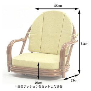 ラタン回転座椅子ロータイプ+クッションセット(プリント)HR(ブラウン)籐チェアブラウン選べるクッション和室アジアン()【送料無料】【smtb-f】