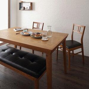 レトロデザインダイニング4点セット(テーブル+チェア×2+ベンチ)(き)