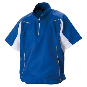 ZETT(ゼット)野球半袖ハーフジップジャンパーBOV515H2511ロイヤルブルー×ホワイトL