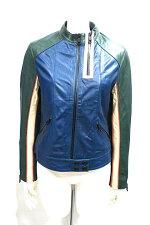 【中古】ZADIG&VOLTAIREザディグエヴォルテールジャケットレディースレザージャケットライダースグリーンブルー羊革Sサイズ