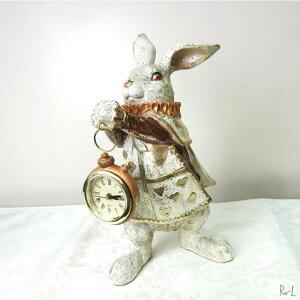 ★ ウサギの置物 バロックラビットトランプラビット クロック 時計付きバニーオブジェ イースター ディスプレイクラシカル アンティーク風 RE6626