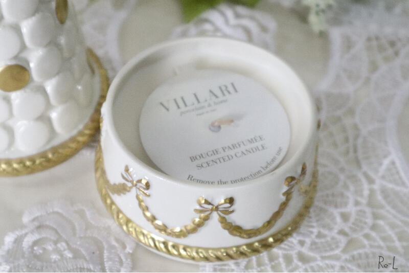 ※数量限定入荷※イタリア製 VILLARI ヴィラリベビーマカロンピラミッド小物入れ 香りキャンドル入り ホワイト ポーセリン 磁器 置物