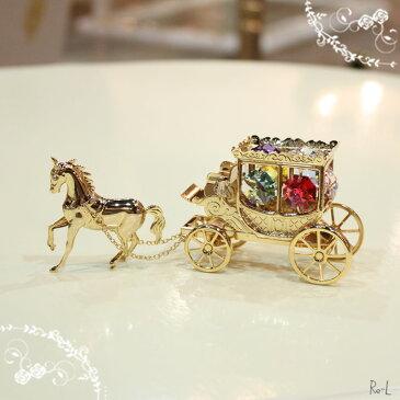 スワロフスキークリスタル馬車置物 光り輝くオブジェRE01361