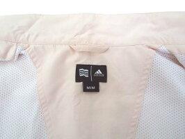 【中古】adidasアディダスロゴ刺繍半袖裏地メッシュジップアップジャケットスポーツウェアMピンクホワイトレディース【ベクトル古着】191125ベクトルイズム