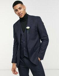 エイソス メンズ タンクトップ トップス ASOS DESIGN skinny suit vest with micro plaid in navy and green Navy