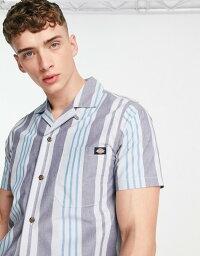 ディッキーズ メンズ シャツ トップス Dickies Grove City striped short sleeve shirt in blue Fog blue