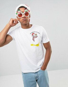 ブレーブソウル メンズ Tシャツ トップス Brave Soul Holidays Snowman Pocket T-Shirt White