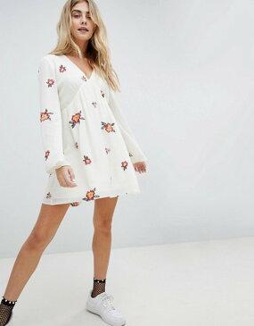 ハニーパンチ レディース ワンピース トップス Honey Punch Swing Dress With All Over Embroidery White