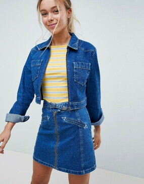 エイソス レディース ジャケット・ブルゾン アウター ASOS DESIGN denim cropped jacket with western belt buckle detail two-piece Blue