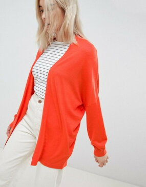 エイソス レディース カーディガン アウター ASOS DESIGN eco cardigan in oversize fine knit Tomato