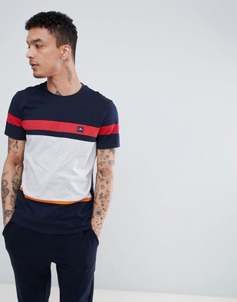 アクアスキュータム メンズ Tシャツ トップス Aquascutum Roeburn Stripe T-Shirt In Navy Navy