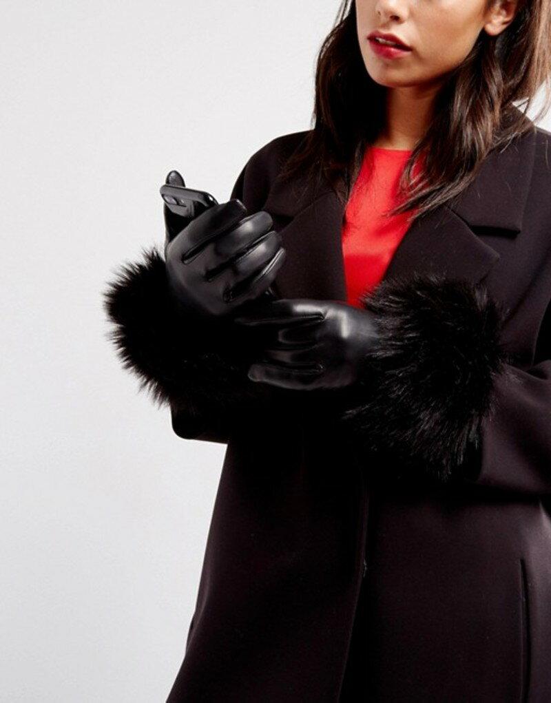 テッドベーカー レディース 手袋 アクセサリー Ted Baker Faux Fur Gloves Black