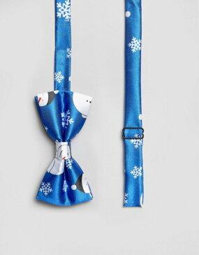 セブンエックス メンズ ネクタイ アクセサリー 7X Holidays Snowman Print Bow Tie Blue