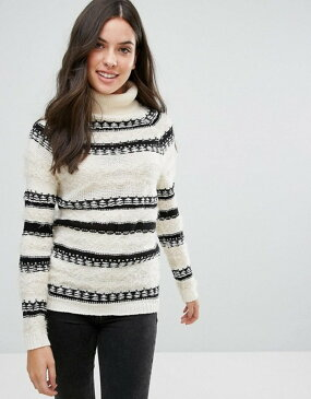 ブレーブソウル レディース ニット・セーター アウター Brave Soul Osha Roll Neck Stripe Sweater Cream with black