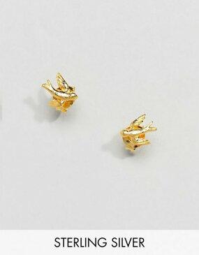 キングスリーライアン レディース ピアス・イヤリング アクセサリー Kingsley Ryan Sterling Silver Gold Plated Swallow Stud Earrings Gold
